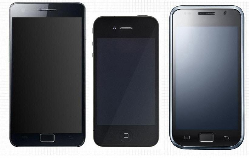 comparatif de taille iphone 4 samsung galaxy s et s2. Black Bedroom Furniture Sets. Home Design Ideas