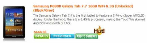 Samsung Galaxy Tab 7.7: �cran Super AMOLED HD