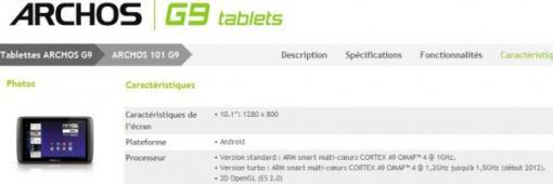 2012: tablettes Archos GEN9 1.5 Ghz