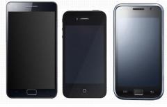 Comparatif de taille iPhone 4, Samsung Galaxy S et S2