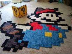Un tapis Mario fait maison � la main