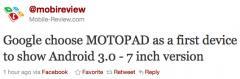 La Motorola MotoPad sera le 1er terminal sous Android 3.0